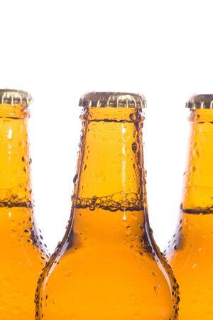 Macro of three isolated fresh beers Stock Photo - 3937040