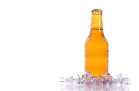 beerhouse: A isolated fresh beer with ice