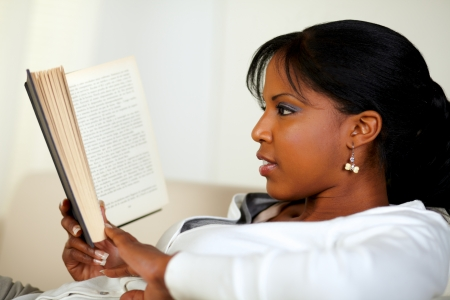mujer leyendo libro: Retrato de una joven y bella mujer leyendo un libro en casa interior Foto de archivo
