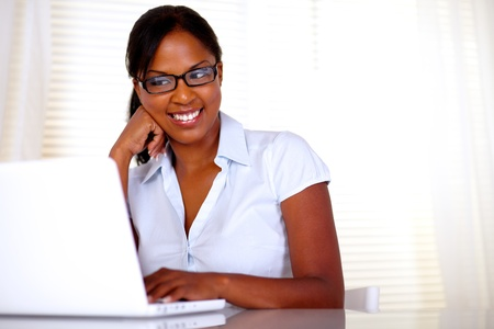 Afro-american secretary reading on laptop screen at office - copyspace Stock Photo - 15154848