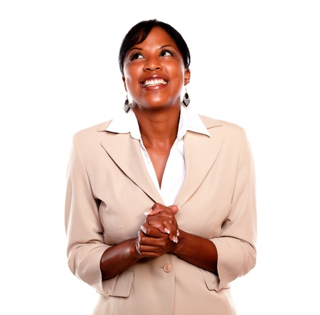 woman looking up: Attractive executive woman smiling and looking up against white background