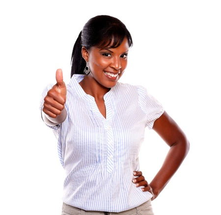 attitude girls: Positive young woman lifting the finger up on isolated background