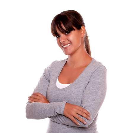 Portrait of a charming relaxed woman smiling and looking at you on gray t-shirt against white background Stock Photo - 17542559