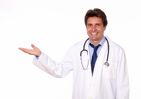 male palm: Portrait of a professional medical doctor holding out his palm and showing you copyspace on white background