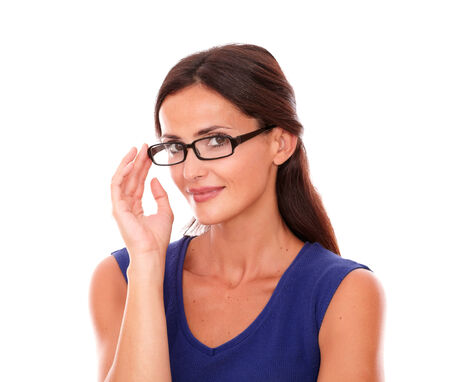 30 34 years: Friendly female with glasses looking at you in white background