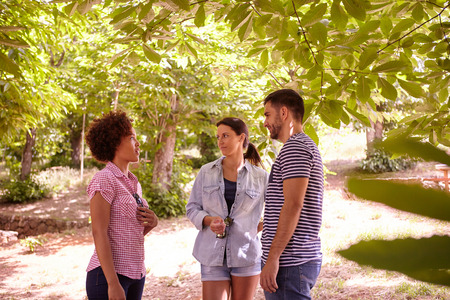 dappled: Three happy friends discussing something in the dappled afternoon sunshine with some trees around them wearing casual clothing Stock Photo
