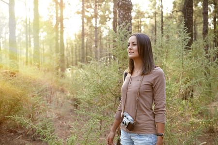 Young girl wandering in a forest of pine trees with a camera while wearing a brown t-shirt and shorts Imagens