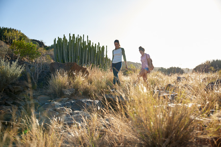 Two young girlfriends walking down a rocky hill wearing casual clothing with their arms beside them in the afternoon sun Stock Photo