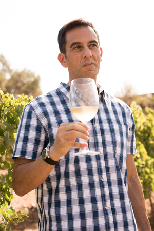 Man holding a glass of wine outdoors looking into the distance with a faint grin on his face Foto de archivo