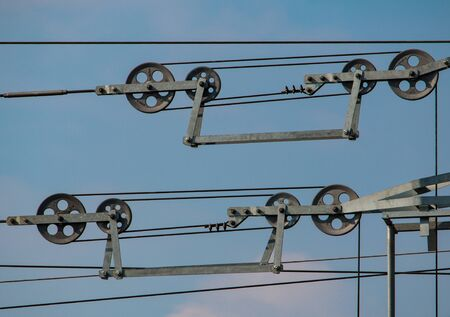 pulleys: poleas rejilla del tren Foto de archivo