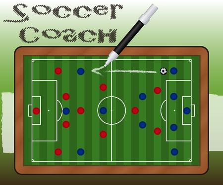soccer coach: Slate Soccer Coach Illustration