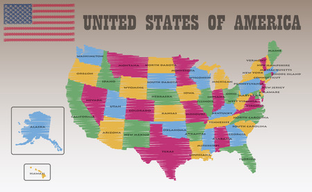 state of colorado: United States of America Map Illustration