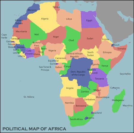 아프리카의 정치지도 일러스트
