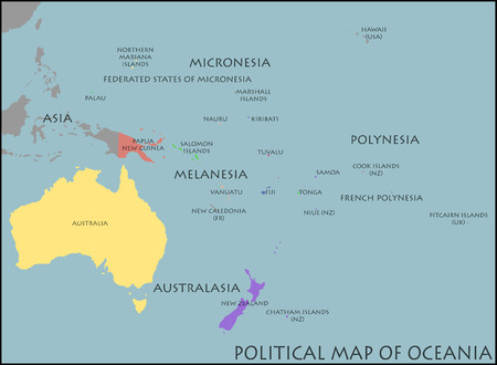 oceania: Political Map of Oceania