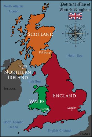 Cartina Politica Regno Unito In Italiano.Vettoriale Regno Unito Politica Mappa Con Capitale Londra I Confini Nazionali Piu Importanti Citta Fiumi E Laghi Image 29090796