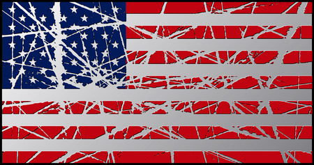 worn: Worn USA Flag 3D Illustration