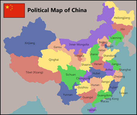 Political Map of China Vettoriali