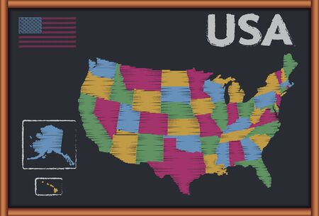Blackboard with the Map of USA