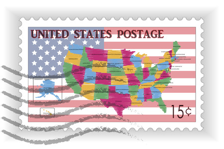 Stamp with Map and Flag of USA