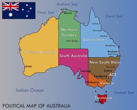 Politieke kaart van Australië Stock Illustratie