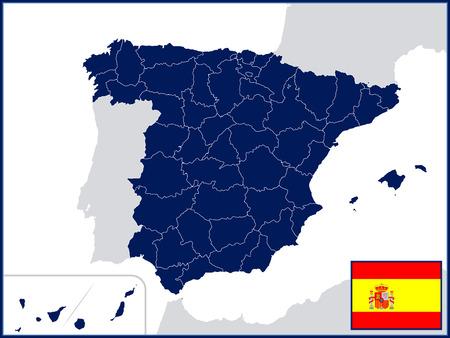 Provincies van Spanje met Vlag en Badge