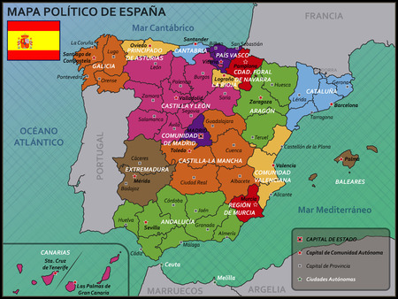 mapa politico: Mapa pol�tico de Espa�a con la bandera y la insignia