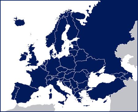 mapa politico: Europa mapa político en blanco