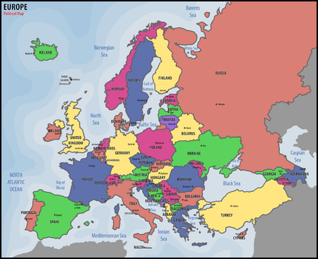Europe Political Map Illustration