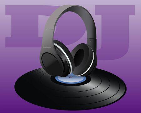 disc jockey: Vinyl and Headphones of Disc Jockey