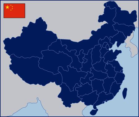 Blanco Kaart van China Stock Illustratie