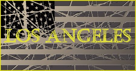 los angeles: Los Angeles Vintage USA Flag 3D