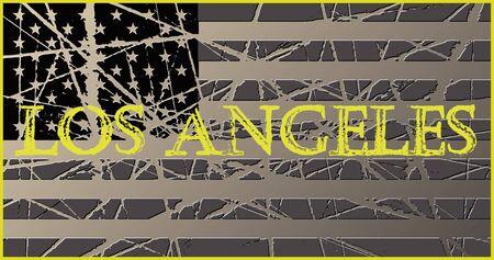 angeles: Los Angeles Vintage Worn USA Flag 3D Illustration