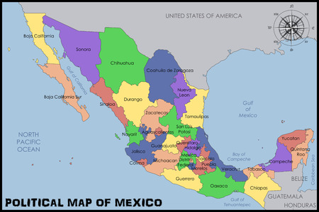 Political Map of Mexico 向量圖像