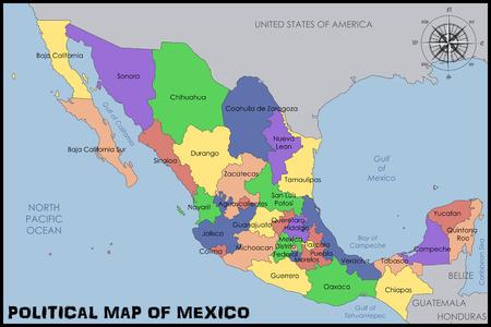Politieke Kaart van Mexico Stock Illustratie