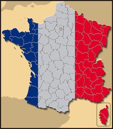 corsica: Map of France with Flag Illustration