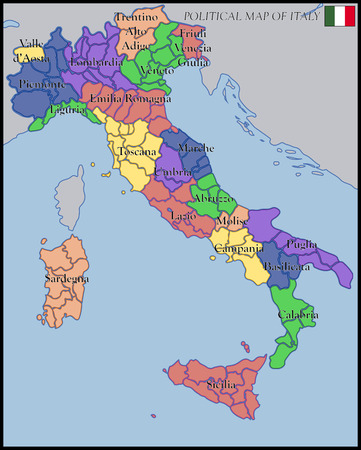 turin: Political Map of Italy Illustration