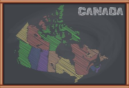 blackboard background: Blackboard with the Map of Canada Illustration