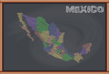 Blackboard with the Map of Mexico 向量圖像