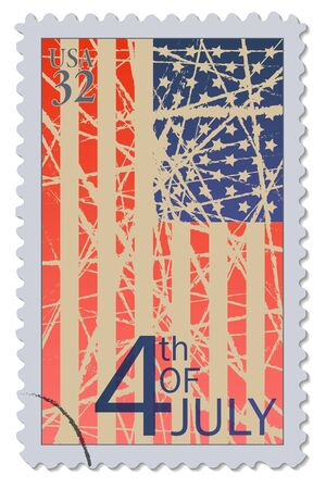 4 juli Postzegel Stock Illustratie