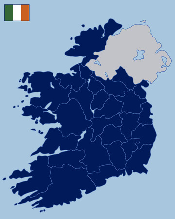 irish cities: Blank Map of Republic of Ireland