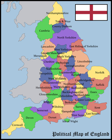british isles: Political Map of England