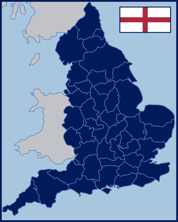 british isles: Blank Map of England