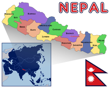 nepal: Map Flag and Location of Nepal