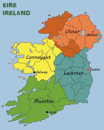 아일랜드의 정치지도 일러스트