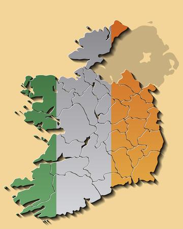irish map: Map of Republic of Ireland with Flag