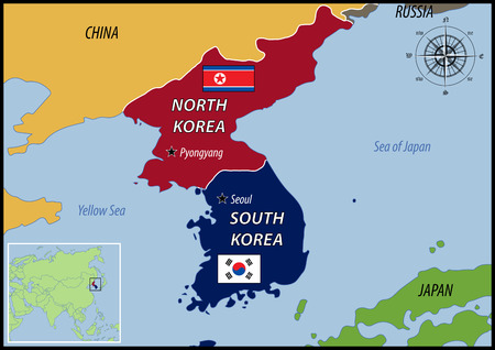 north korea: Map of Location of Korea and Flags