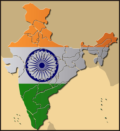 Map of India with Flag Illustration