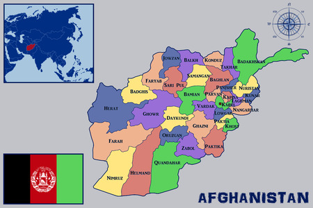 afghanistan: Map Flag and Location of Afghanistan Illustration