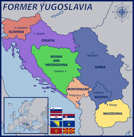 Map Location and Flags of the Former Yugoslavia