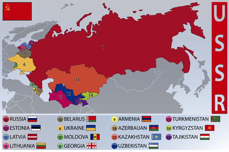 Mapa y banderas de las repúblicas de la ex URSS Foto de archivo - 41754422
